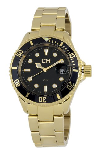 Carlo Monti Varese Men's Quartz Watch with Black Dial Analogue Display and Gold Stainless Steel Plated Bracelet CM507-229