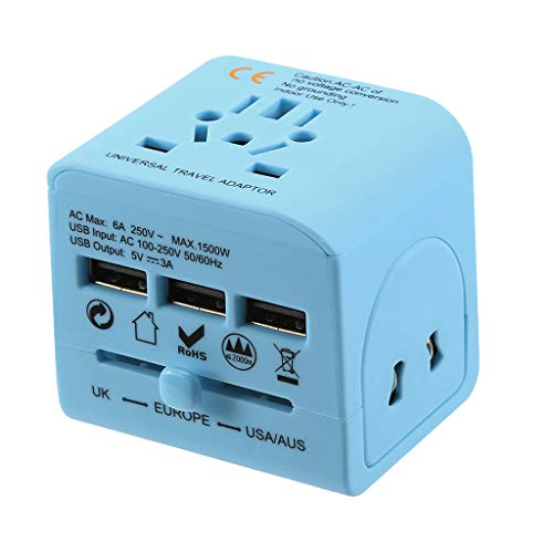 Stecker- Reisestecker Geerdeter Adapter 3 USB-Steckerladegerät Universal World Travel Adapter EU Europa Asien Stecker AC Universal Adapter für Konverter Table Länder mit US/EU/UK/AU/Steckern (Blue)