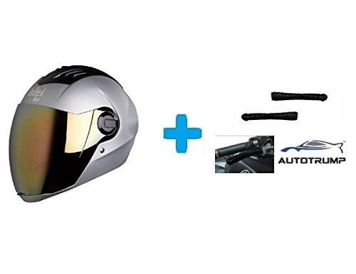 Autotrump Steelbird Sba-2 Full Face Helmet,(Dull Silver,Large) ,Come'S Transparent Visor For Night Vision & Autotrump Brand Helmet Lock