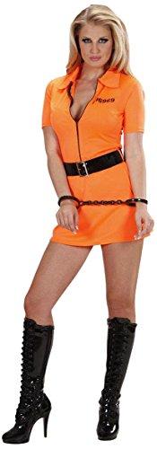 Womens Kostüm Orange Gefangener - WIDMANN Guilty Inmate Kostüm für Damen, Gr. 36-38, für Gefangene, Sträfling, Jail