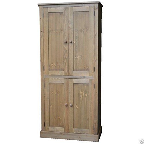 Best Price Solid Pine Storage Cupboard, Handcrafted & Waxed 4 Door Pantry, Larder, Linen, Filing, Dual Storage Kitchen or Hallway Cabinet. Choice of Colours. No flat packs, No assembly (CUP114) on Line