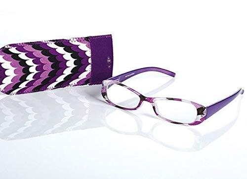 LOOK AND SEE Schicke Damen Lesebrille +1,5 lila/bunt Flexbügel Fertigbrille