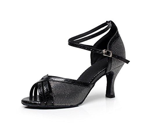 Minitoo da donna Glitter Peep Toe Scarpe da danza latina Nero (nero)