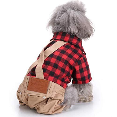 ung für Hunde Katze Pet,Verkleidungen & Kostüme für Hunde,Tierbedarf,Fashion Pet Plaid Pattern Printing Overall für Hunde Outdoor Wear CZD111 red Grid S ()