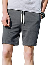 Pantalón Cargo Corto de Hombre Aire Libre Verano Lino Pantalones Cortos Casuales Pantalones de Playa Pantalones