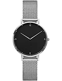 3bdf40e71301 Dyfzxy Reloj Deportivo para Mujer Reloj Casual Moda Simple Lujo Reloj de  Cuarzo Correa de Malla metálica Impermeable Dial Negro A +…