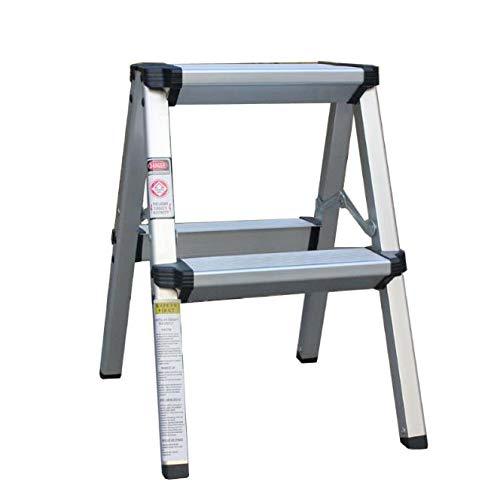 IMMEK Escalera de Tijera, Escalera Plegable del Hogar, Escalera de Mano, 2 Niveles en Ambos Lados, Capacidad 150 Kg, Aluminio