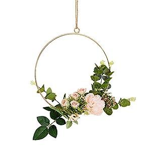 JUNGEN Künstliche Blume Hängende Dekoration aus Runder Metallring Wandkranz für Geburtstag Hochzeit Party Wohnaccessoires Deko Size 20cm (Champagner Kamelie)