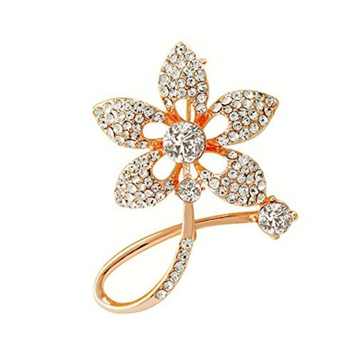 2PCS Femmes Broches élégantes et Pins avec cristaux clairs, fleur d'or