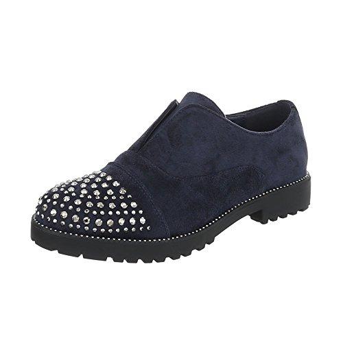 Chaussures femme Mocassins Bloc Slippers Ital-Design Bleu foncé 22-2