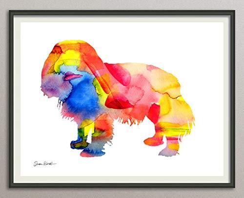 cavalier king charles spaniel Rasse Hunde Hunderasse Fine Art Print Aquarell Silhouette Profil Poster Kunstdruck Plakat modern ungerahmt DIN A 4 Deko Wand Bild -