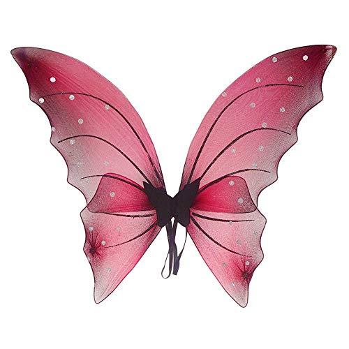 GLXQIJ 3 Teile/Satz Verträumte Fee Schmetterlingsflügel Für Kinder Mädchen Prinzessin, Halloween Flügel Kostüm Geburtstagsfeier Cosplay Fancy Dress Up,Red,1Piece (Red Wings Kostüm)
