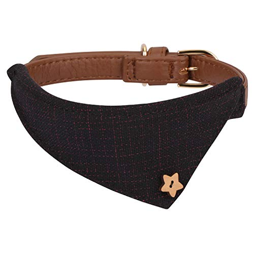 Hanko Süßes Leder Haustier Halsband, Plaid Dreiecktuch Dreiecktuchkrawatte Stil für Hunde, Katzen, Kleines Haustier Outfits Zubehör