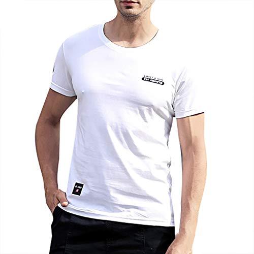 TWISFER Herren Rundhals T-Shirt Kurzarm Brief Druck Casual Tee Sweatshirt Mode Blusen Streetwear Sportlich Sommerkleidung Sommer Tops - Aqua-print-rock