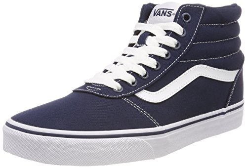 Vans Herren Ward HI Canvas Hohe Sneaker, Blau Dress Blues/White Jy3, 47 EU - Vans White Schuhe Slip-on Herren