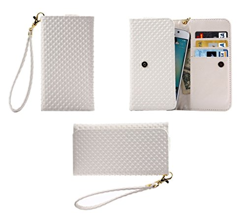 DFV mobile - Cover Premium Case with Design Pearl Grid Texture with Card Slots & Lanyard for => Celkon Campus Buddy A404 > White