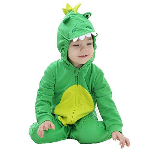 Katara 1778 Drachen-Kostüm mit liebevollen Details mit Augen, Ohren und Zähnen an der Kapuze, Verkleidung für Babys und Kleinkinder, Ganzkörper-Anzug mit Reißverschluss, Drache (Grün), CN100 / 18-24 Monate / 80-90 (Mama Kostüm Monster Und Baby)