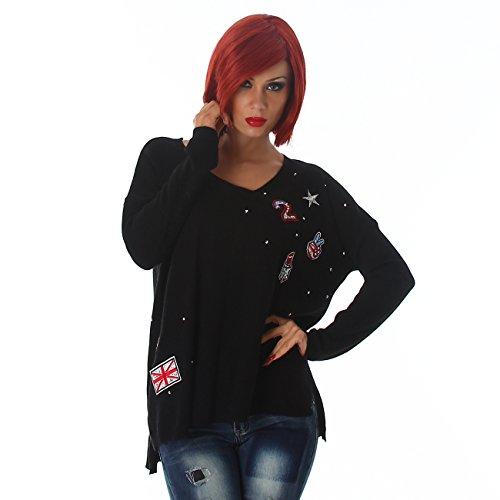 JELA London Damen Pullover im Oversize Stil, coole Sticker vernäht, bequemer Sitz mit V-Ausschnitt 36-42 Black