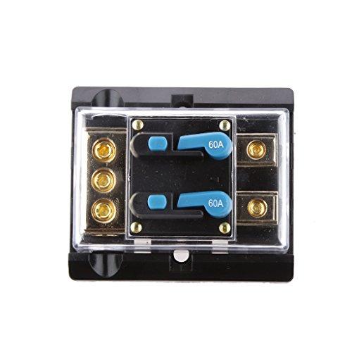 MagiDeal 60 Amp Dual In-line Manuale Ripristino Interruttore Fusibile Auto Audio Video Stereo 12V