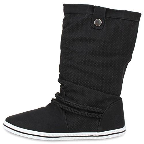 Bequeme Damen Stiefel Flache Schlupfstiefel Boots Schwarz Weiss