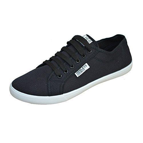 Hommes Henleys Kenyon Chaussures En Toile Créateur Lacet Chaussures Plates Baskets Style Décontracté Noir