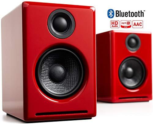 Audioengine A2+ Wireless 60W Aktiv-Desktop PC Boxen/PC Lautsprecher   Eingebauter 24Bit DAC & Verstärker   aptX Codec, USB-Verbindung, 3,5 mm-Klinken- sowie Cinch-Eingänge (Bluetooth, Rot)