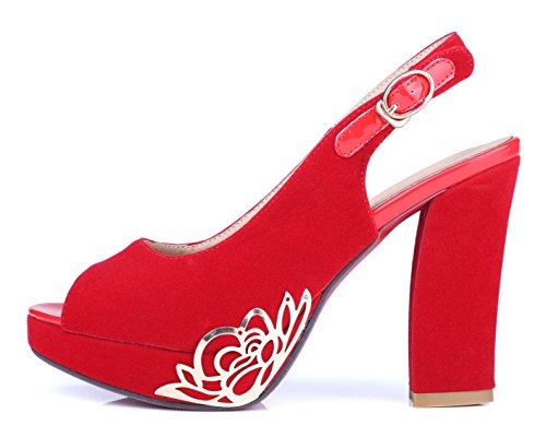 Damen Peep Toe Slingback Chunky High Heels Sandalen elegant Pumps mit Blockabsatz und Schnalle Rote Sohle Schuhe Rot