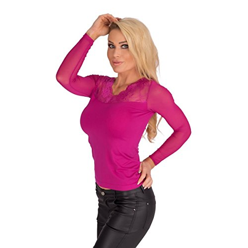 10185 Fashion4Young Damen T-Shirt Langarm Shirt mit Spitze Pullover Damenshirt transparent Pink