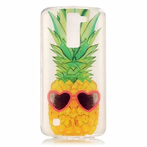 JINCHANGWU LG K8 Handy-gehäuse TPU Silikon Handy Hülle Transparent Schutzhülle Crystal Clear Case Für Scratch-Resistant Bumper Soft Rückseite Cover Tasche Fun Ananas Sonnenbrille