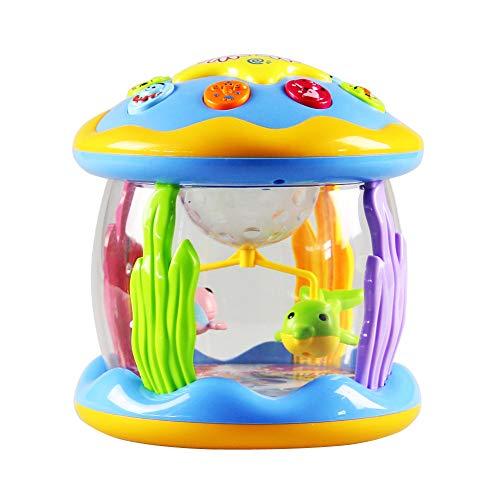 JklausTap Musikspielzeug Dream Ocean Paradise Rotating Light Music Drums Kinder Lernspielzeug Spielzeuginstrumente Spielzeugmusikinstrumente Babyinstrumente