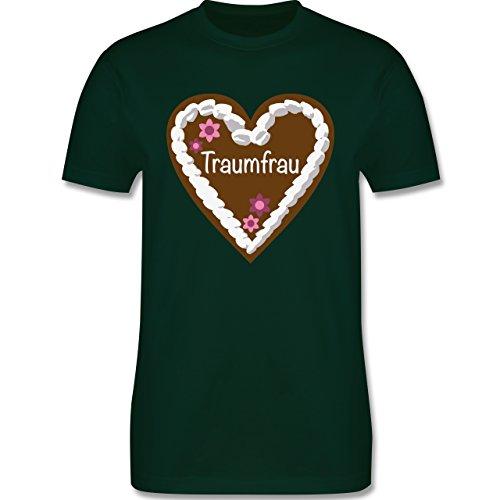 Valentinstag - Lebkuchenherz Traumfrau - Herren Premium T-Shirt Dunkelgrün