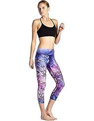 Pantalon de yoga fille était mince pantalon respirant un pantalon de fitness fonctionnement sueur sudoripares imprimés