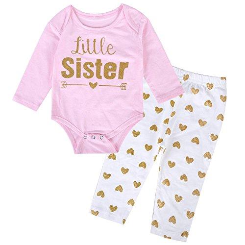 2/Set Baby Mädchen Little Sister Strampler Hose Passende Kleidung (Baby) (0–3m) (Gaze-big-shirt)