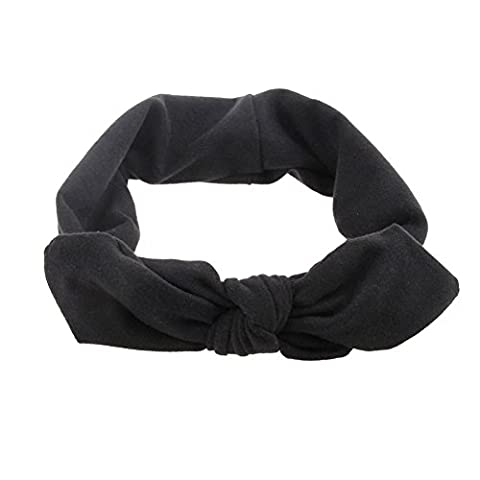 SZTARA Adults Vintage Headband Elastic Cotton Cute Rabbit Ear Bow Style Hairband Twisted Hair DIY Accessory Black