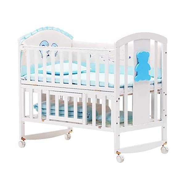 QINYUN Crib Solid Wood Multi-function Baby Cradle Bed Newborn Splicing Big Bed With Roller QINYUN 1. The crib is a safe, comfortable and easy to use bed that enhances the child's newly discovered independence. 2. Storage function - increase the storage space, convenient for the treasure mother to store the baby toy splicing storage board, and it is more convenient to change the table later. 3. It can give the baby enough security and let the baby enjoy a comfortable sleep. You don't have to worry about your baby's sleep quality anymore. 4