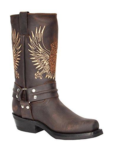 Herren Echte Leder Cowboy Stiefel Western Absatz Wadenlänge Quadrat Zehe Schuhe HLG02BE (EU 42, Braun)