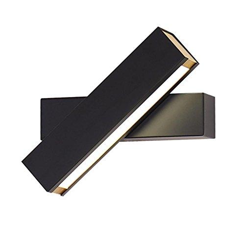 Applique HETAO Nordique Post-Moderne Minimaliste LED Lampe de Mur Creative Rotatif Gradation Lecture Murale Chambre Chevet Couloir Salon Décoration Lampes, Noir/Blanc, 4.5 * 20 cm, black mur décoré