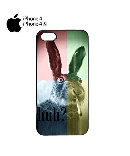 Smoking Weed Rabbit High Mobile Phone Case Back Cover Coque Housse Etui Noir Blanc pour for iPhone 6 Plus Black Noir
