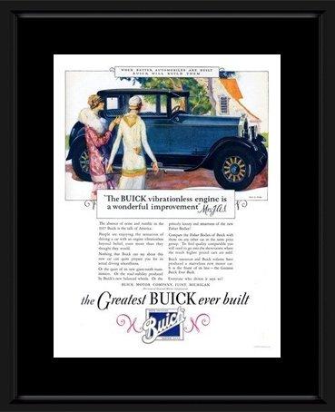 Buick-Art Deco Auto Schild 1920s Rahmen und Wandbefestigung, 48 x 38 cm 48 Rahmen Motor
