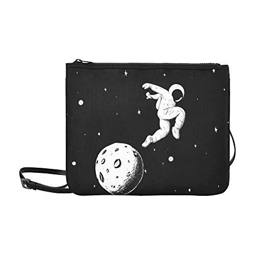 EIJODNL Astronauten machen Bilder auf dem Halbmond-Mondmuster Benutzerdefinierte hochwertige Nylon-dünne Clutch-Tasche Umhängetasche mit ()