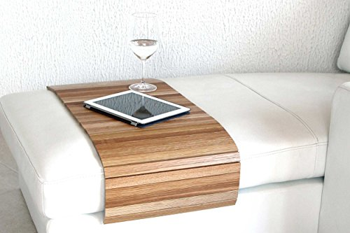 moebelhome Sofatablett Holz groß XXL 120cm ~ Ablage Tablett EICHE Massivholz für Hocker oder Longchair Couch Tablett ~ Hockerablage -
