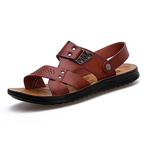 les sandales, les hommes en cuir, chaussures de plage, summer air dew toe souliers, double pantoufles antidérapantes Dark Brown