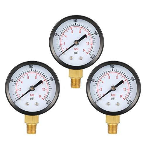 ZCHXD Bottom Mount Pressure Gauge, 0-200 psi/bar Dual Scale, 1-25/32
