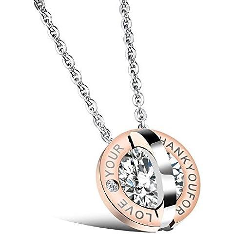 Ms. amore Round diamond acciaio al titanio coppia collana ciondoli bene , rose gold