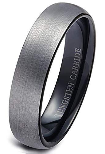Milacolato Wolfram Ringe für Männer Hochzeit Engagement Band gebürstet schwarz 6mm Größe 9-13 (Band 6mm Hochzeit Wolfram)