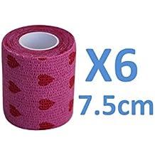 Venda Cohesiva Love Rosa 6 rollos x 7,5 cm x 4,5 m autoadhesivas vendaje Flexible, calidad profesional, primeros auxilios Deportes Wrap Vendas - Pack de 6