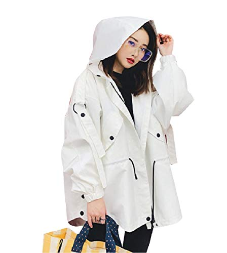 CuteRose Womens Drawstring Long Utility Zipper Windbreaker Parka Anorak White XXS -
