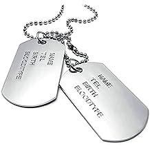 AnaZoz Joyería de Moda Collar de Hombre Acero Inoxidable Plata Colgante Collar Para Hombres Army Etiqueta de Perro Link Personalidad Simple