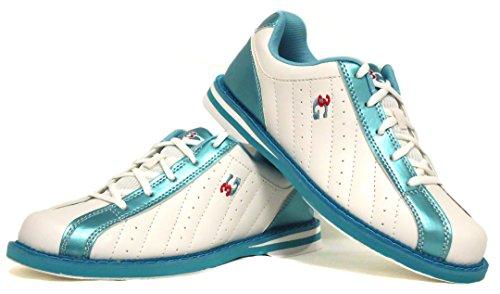 Bowling-Schuhe, 3G Kicks, Damen und Herren, für Rechts- und Linkshänder in 4 Farben Schuhgröße 36-48 (weiß-blau, 38 (US 8))