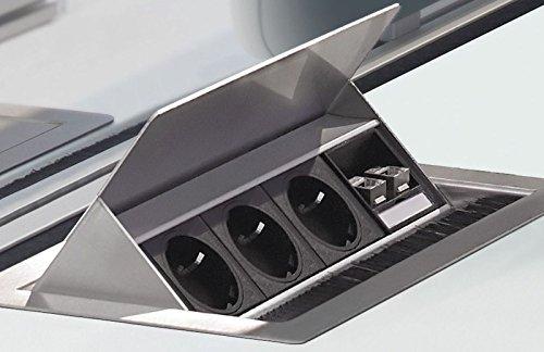 EVOline Flip Top Schreibtisch Konferenztisch Einbausteckdose 3x Schuko 2x RJ45 *34315